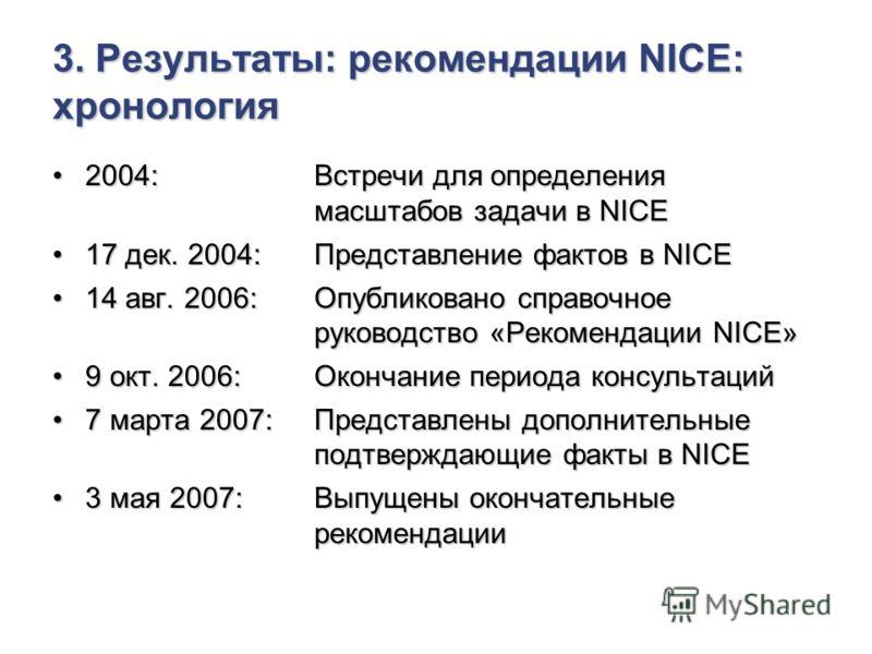 3. Результаты: рекомендации NICE: хронология 2004: Встречи для определения масштабов задачи в NICE2004: Встречи для определения масштабов задачи в NICE 17 дек. 2004: Представление фактов в NICE17 дек. 2004: Представление фактов в NICE 14 авг. 2006: О