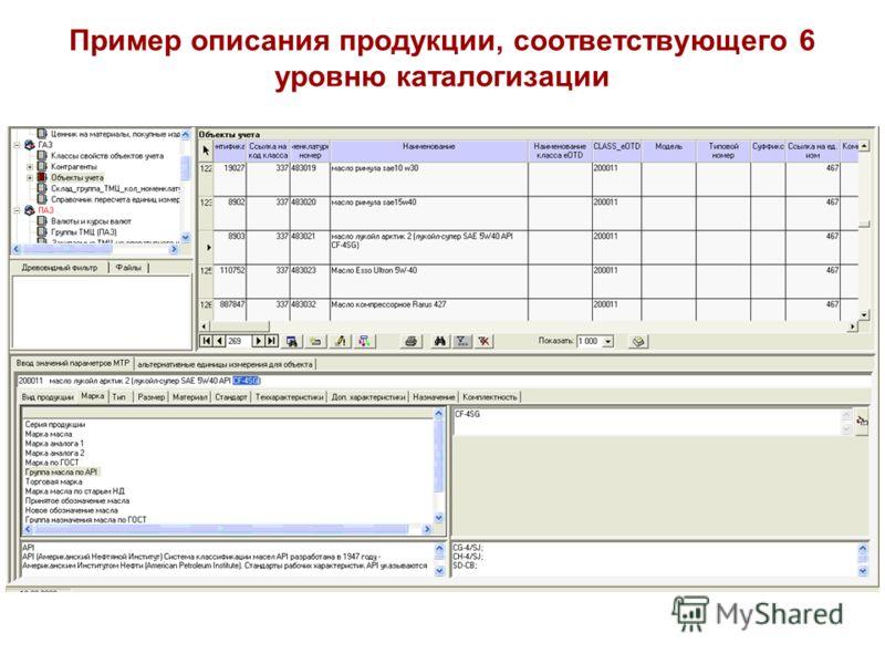 Пример описания продукции, соответствующего 6 уровню каталогизации
