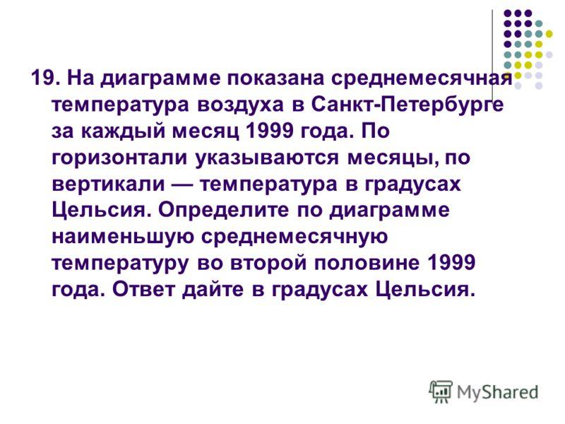 19. На диаграмме показана среднемесячная температура воздуха в Санкт-Петербурге за каждый месяц 1999 года. По горизонтали указываются месяцы, по вертикали температура в градусах Цельсия. Определите по диаграмме наименьшую среднемесячную температуру в