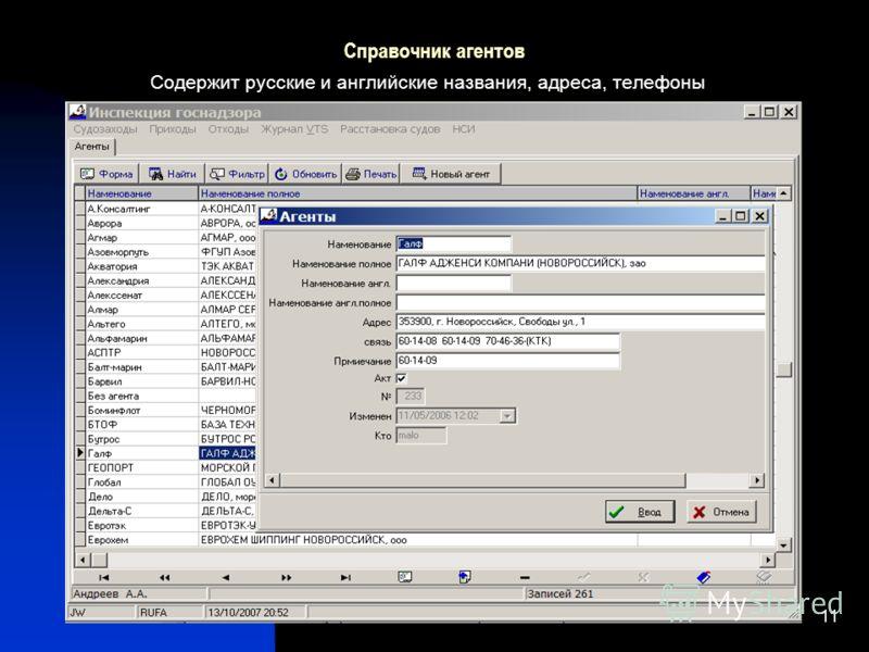 11 Справочник агентов Содержит русские и английские названия, адреса, телефоны