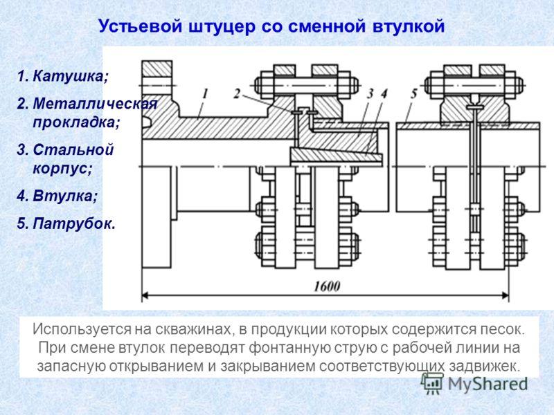 Устьевой штуцер со сменной втулкой 1.Катушка; 2.Металлическая прокладка; 3.Стальной корпус; 4.Втулка; 5.Патрубок. Используется на скважинах, в продукции которых содержится песок. При смене втулок переводят фонтанную струю с рабочей линии на запасную