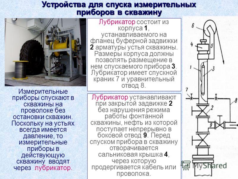 Лубрикатор состоит из корпуса 1, устанавливаемого на фланец буферной задвижки 2 арматуры устья скважины. Размеры корпуса должны позволять размещение в нем спускаемого прибора 3. Лубрикатор имеет спускной краник 7 и уравнительный отвод 8. Лубрикатор у