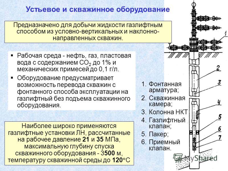 1.Фонтанная арматура; 2.Скважинная камера; 3.Колонна НКТ 4.Газлифтный клапан; 5.Пакер; 6.Приемный клапан. Рабочая среда - нефть, газ, пластовая вода с содержанием СО 2 до 1% и механических примесей до 0,1 г/л. Оборудование предусматривает возможность