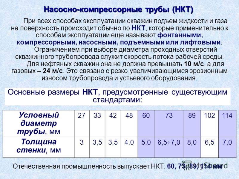 Условный диаметр трубы, мм 27334248607389102114 Толщина стенки, мм 33,5 4,05,0 6,5 7,0 8,06,57,0 Отечественная промышленность выпускает НКТ: 60, 73, 89, 114 мм При всех способах эксплуатации скважин подъем жидкости и газа на поверхность происходит об