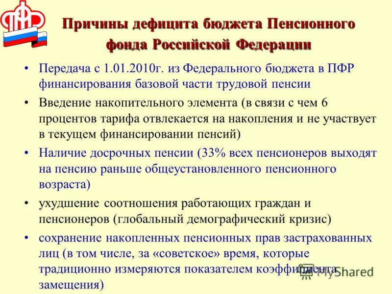 Причины дефицита бюджета Пенсионного фонда Российской Федерации Передача с 1.01.2010г. из Федерального бюджета в ПФР финансирования базовой части трудовой пенсии Введение накопительного элемента (в связи с чем 6 процентов тарифа отвлекается на накопл