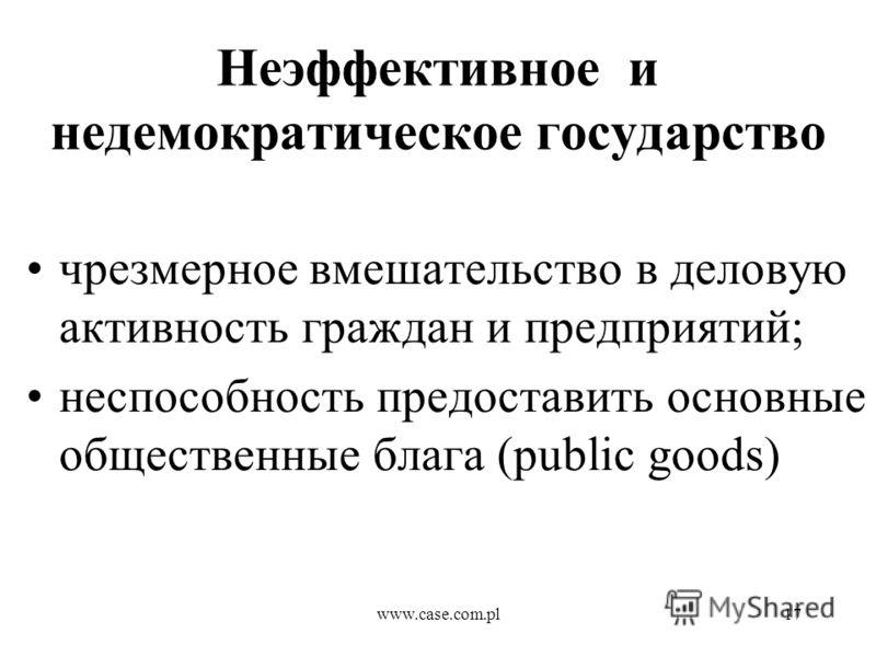 www.case.com.pl17 Неэффективное и недемократическое государство чрезмерное вмешательство в деловую активность граждан и предприятий; неспособность предоставить основные общественные блага (public goods)
