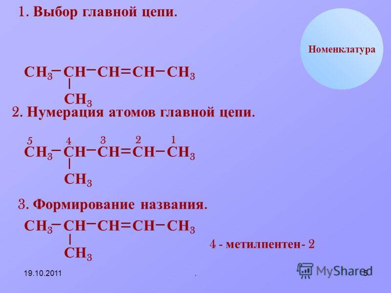 19.10.2011.5 НС Номенклатура 1. Выбор главной цепи. НН3Н3 ССССС СН 3 ННН3Н3 2. Нумерация атомов главной цепи. НН3Н3 ССССС СН 3 ННН3Н3 12 3 45 3. Формирование названия. НН3Н3 СССС СН 3 НН3Н3 4 - метил пентен - 2