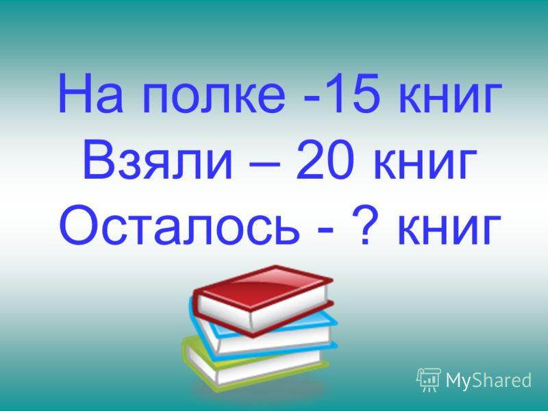 На полке -15 книг Взяли – 20 книг Осталось - ? книг