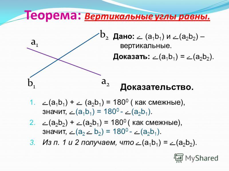 Теорема: Вертикальные углы равны. 1. ے(а 1 b 1 ) + ے (a 2 b 1 ) = 180 0 ( как смежные), значит, ے(а 1 b 1 ) = 180 0 - ے(a 2 b 1 ). 2. ے(а 2 b 2 ) + ے(a 2 b 1 ) = 180 0 ( как смежные), значит, ے(а 2 ے b 2 ) = 180 0 - ے(a 2 b 1 ). 3. Из п. 1 и 2 получа