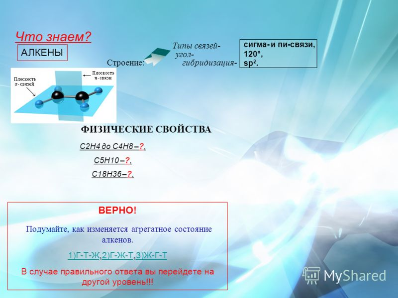 угол- Типы связей- ВЕРНО! Подумайте, как изменяется агрегатное состояние алкенов. 1)Г-Т-Ж1)Г-Т-Ж,2)Г-Ж-Т,3)Ж-Г-Т2)Г-Ж-Т3)Ж-Г-Т В случае правильного ответа вы перейдете на другой уровень!!! АЛКЕНЫ гибридизация- С2Н4 до С4Н8 –?, С5Н10 –?, С18Н36 –?. ФИ