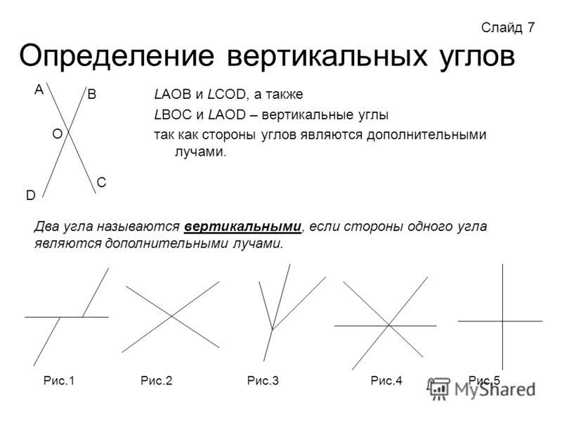 Определение вертикальных углов LАОВ и LСОD, а также LВОС и LАОD – вертикальные углы так как стороны углов являются дополнительными лучами. А В С О Два угла называются вертикальными, если стороны одного угла являются дополнительными лучами. Рис.1Рис.2