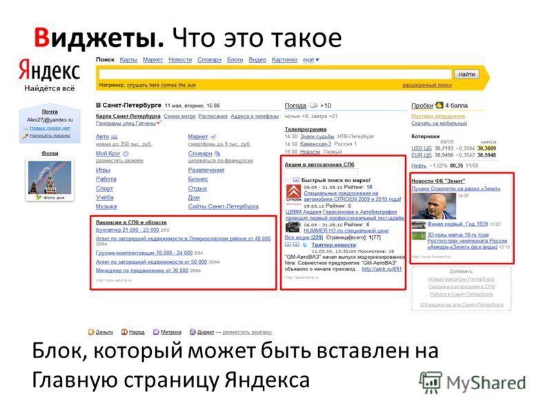 Виджеты. Что это такое Блок, который может быть вставлен на Главную страницу Яндекса