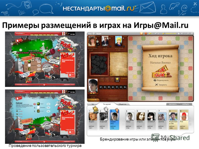 Примеры размещений в играх на Игры@Mail.ru Проведение пользовательского турнира Брендирование игры или элементов игры