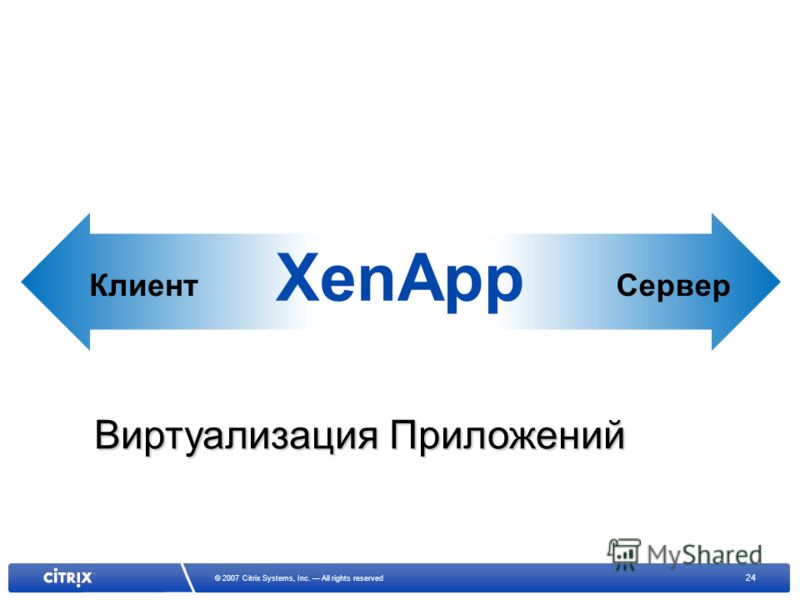 24 © 2007 Citrix Systems, Inc. All rights reserved XenApp КлиентСервер Виртуализация Приложений