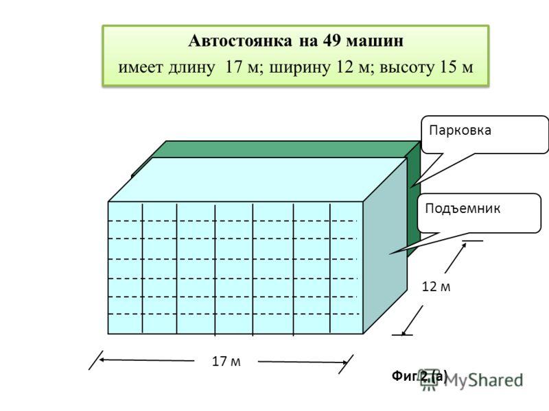 Автостоянка на 49 машин имеет длину 17 м; ширину 12 м; высоту 15 м Автостоянка на 49 машин имеет длину 17 м; ширину 12 м; высоту 15 м 17 м 12 м Подъемник Парковка Фиг 2 (а)