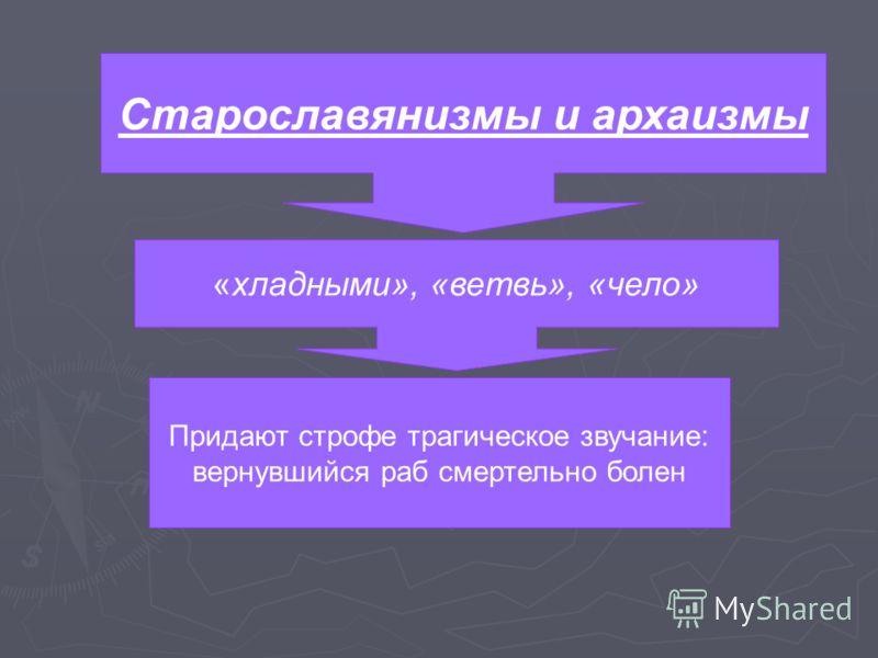 Старославянизмы и архаизмы «хладными», «ветвь», «чело» Придают строфе трагическое звучание: вернувшийся раб смертельно болен