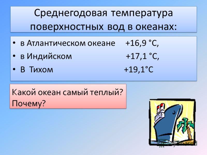 Среднегодовая температура поверхностных вод в океанах: в Атлантическом океане +16,9 °С, в Индийском +17,1 °С, В Тихом +19,1°С в Атлантическом океане +16,9 °С, в Индийском +17,1 °С, В Тихом +19,1°С Какой океан самый теплый? Почему? Какой океан самый т