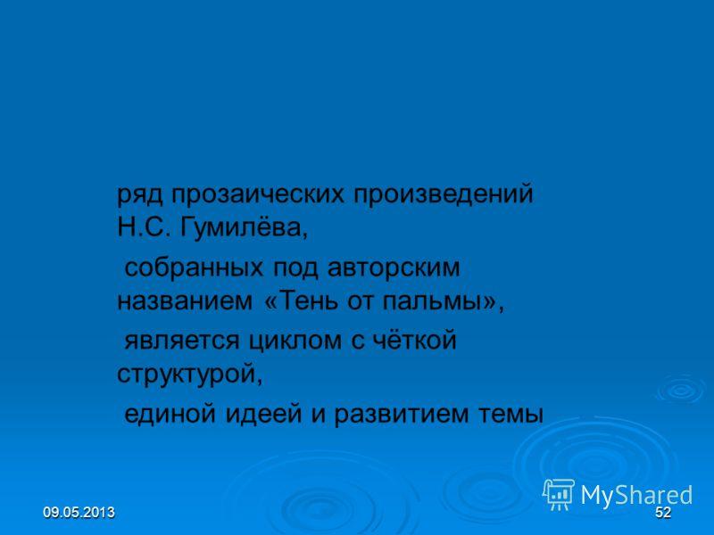 09.05.201352 ряд прозаических произведений Н.С. Гумилёва, собранных под авторским названием «Тень от пальмы», является циклом с чёткой структурой, единой идеей и развитием темы