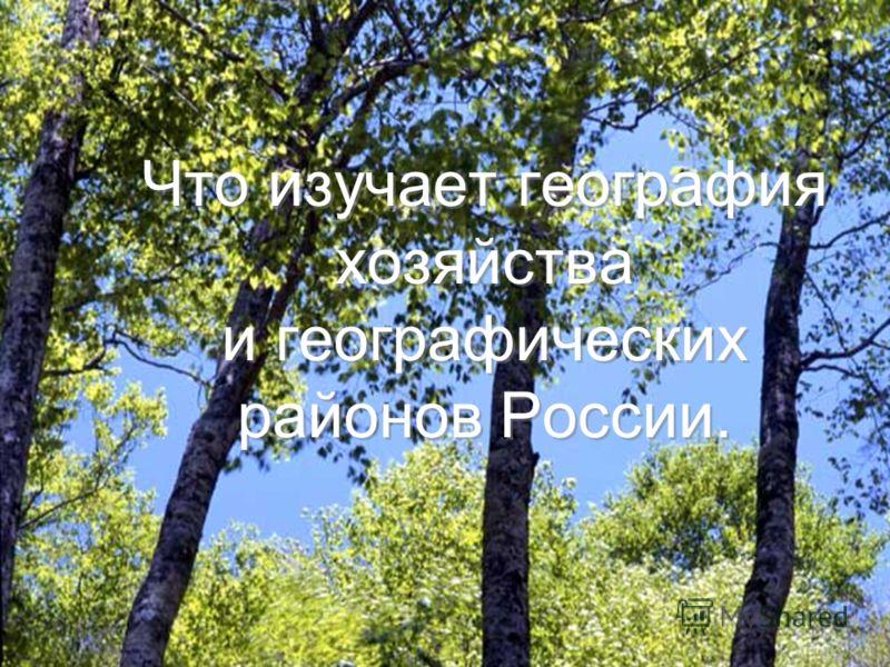 Что изучает география хозяйства и географических районов России.