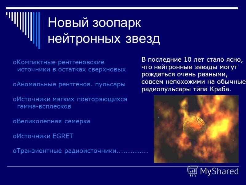 Новый зоопарк нейтронных звезд oКомпактные рентгеновские источники в остатках сверхновых oАномальные рентгенов. пульсары oИсточники мягких повторяющихся гамма-всплесков oВеликолепная семерка oИсточники EGRET oТранзиентные радиоисточники..............