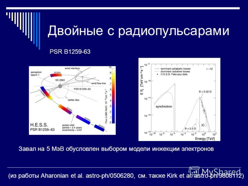 Двойные с радиопульсарами (из работы Aharonian et al. astro-ph/0506280, см. также Kirk et al. astro-ph/9808112) PSR B1259-63 Завал на 5 МэВ обусловлен выбором модели инжекции электронов