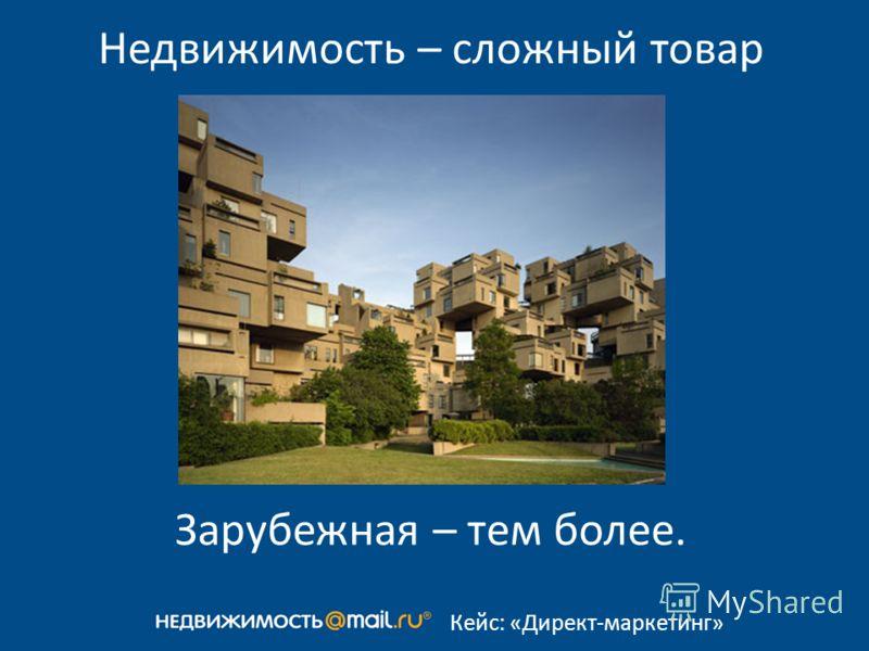 Кейс: «Директ-маркетинг» Недвижимость – сложный товар Зарубежная – тем более.