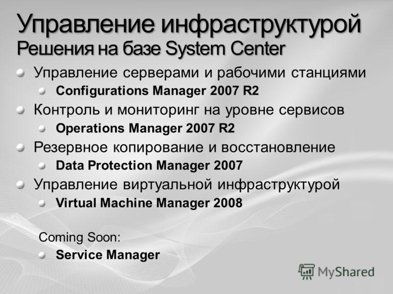 Управление инфраструктурой Решения на базе System Center Управление серверами и рабочими станциями Configurations Manager 2007 R2 Контроль и мониторинг на уровне сервисов Operations Manager 2007 R2 Резервное копирование и восстановление Data Protecti