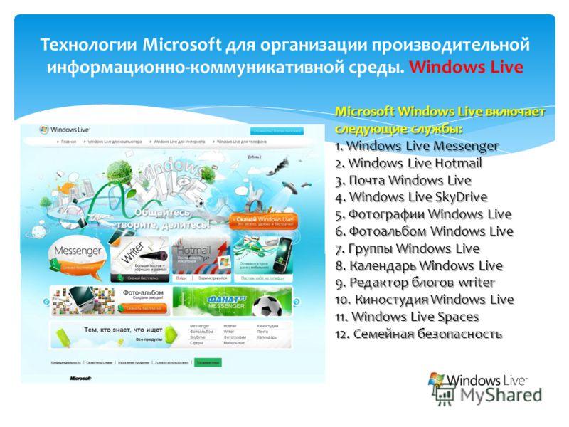 Технологии Microsoft для организации производительной информационно-коммуникативной среды. Windows Live Microsoft Windows Live включает следующие службы: 1. Windows Live Messenger 2. Windows Live Hotmail 3. Почта Windows Live 4. Windows Live SkyDrive