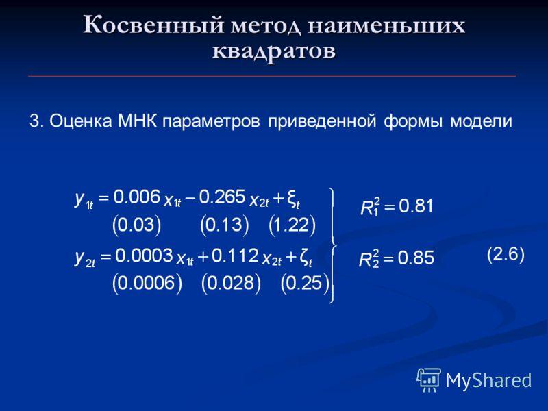 Косвенный метод наименьших квадратов 3. Оценка МНК параметров приведенной формы модели (2.6)
