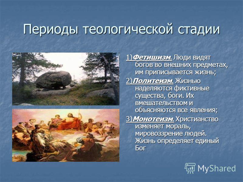 Периоды теологической стадии 1)Фетишизм. Люди видят богов во внешних предметах, им приписывается жизнь; 2)Политеизм. Жизнью наделяются фиктивные существа, боги. Их вмешательством и объясняются все явления; 3)Монотеизм. Христианство изменяет мораль, м