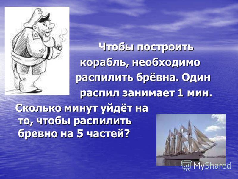 Чтобы построить Чтобы построить корабль, необходимо корабль, необходимо распилить брёвна. Один распилить брёвна. Один распил занимает 1 мин. распил занимает 1 мин. Сколько минут уйдёт на то, чтобы распилить бревно на 5 частей? Сколько минут уйдёт на