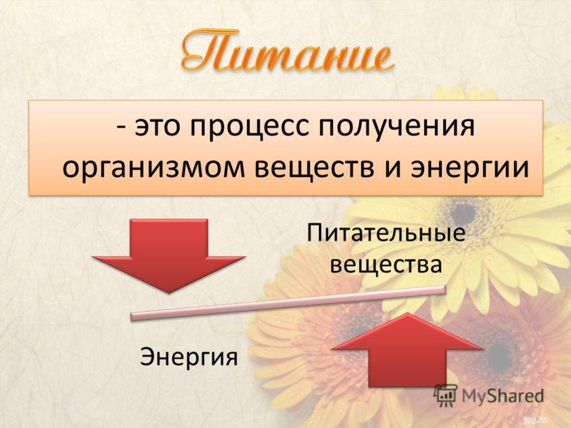 - это процесс получения организмом веществ и энергии Питательные вещества Энергия