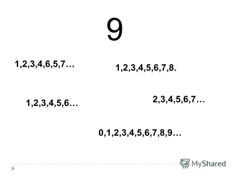 9 1,2,3,4,6,5,7… 1,2,3,4,5,6,7,8. 2,3,4,5,6,7… 1,2,3,4,5,6… 0,1,2,3,4,5,6,7,8,9…