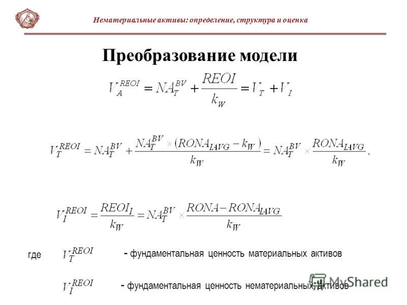 Преобразование модели - фундаментальная ценность материальных активов - фундаментальная ценность нематериальных активов где Нематериальные активы: определение, структура и оценка