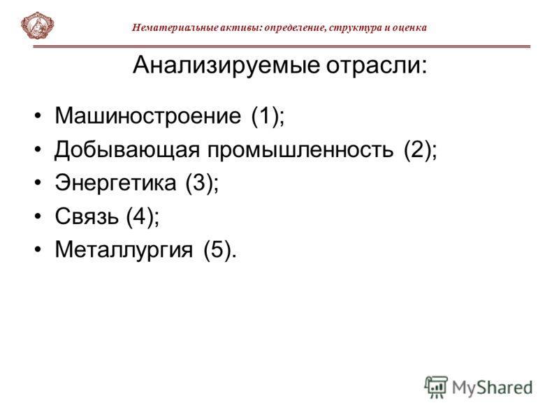 Анализируемые отрасли: Машиностроение (1); Добывающая промышленность (2); Энергетика (3); Связь (4); Металлургия (5). Нематериальные активы: определение, структура и оценка