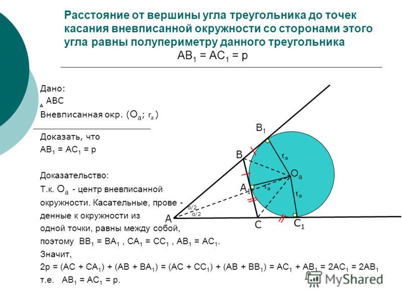 Расстояние от вершины угла треугольника до точек касания вневписанной окружности со сторонами этого угла равны полупериметру данного треугольника АВ 1 = АС 1 = p Дано: АВС Вневписанная окр. ( О а ; r a ) Доказать, что АВ 1 = АС 1 = p Доказательство: