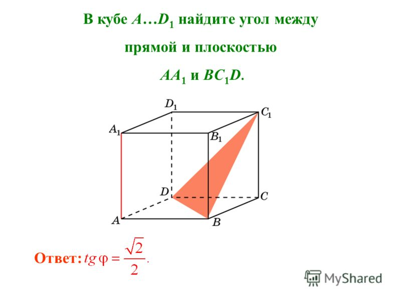 В кубе A…D 1 найдите угол между прямой и плоскостью AA 1 и BC 1 D. Ответ: