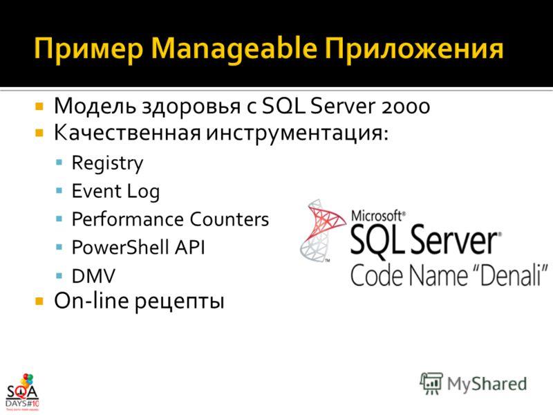 Модель здоровья с SQL Server 2000 Качественная инструментация: Registry Event Log Performance Counters PowerShell API DMV On-line рецепты