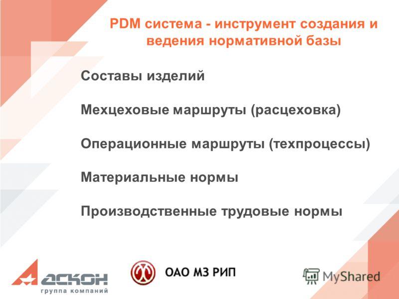 PDM система - инструмент создания и ведения нормативной базы Cоставы изделий Мехцеховые маршруты (расцеховка) Операционные маршруты (техпроцессы) Материальные нормы Производственные трудовые нормы