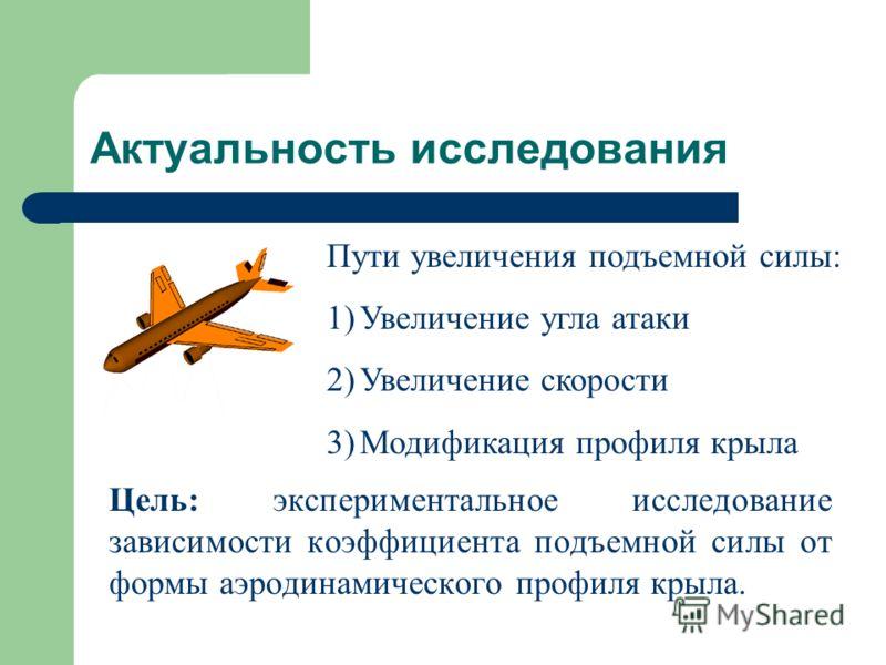 Актуальность исследования Цель: экспериментальное исследование зависимости коэффициента подъемной силы от формы аэродинамического профиля крыла. Пути увеличения подъемной силы: 1)Увеличение угла атаки 2)Увеличение скорости 3)Модификация профиля крыла