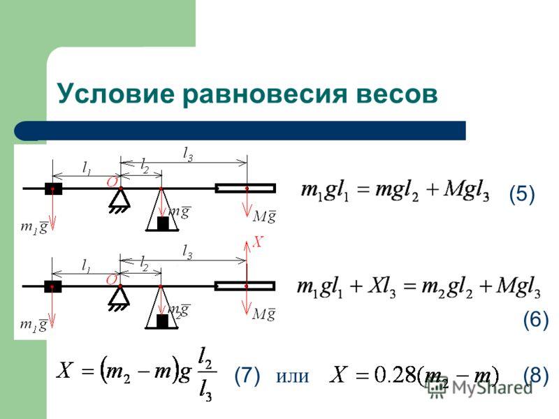 Условие равновесия весов (5) (6) (7) или (8)
