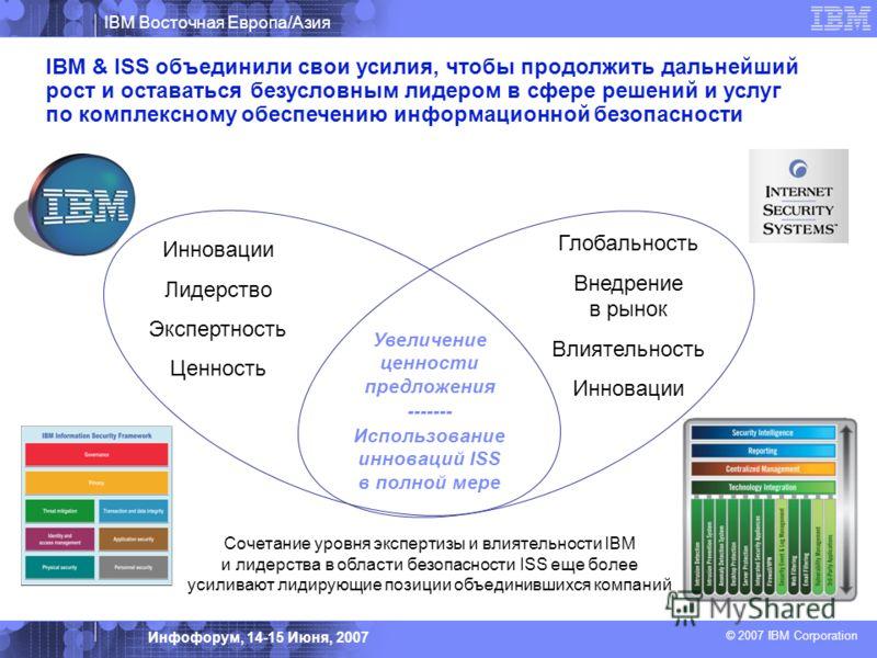 IBM Восточная Европа/Азия © 2007 IBM Corporation Инфофорум, 14-15 Июня, 2007 Увеличение ценности предложения ------- Использование инноваций ISS в полной мере IBM & ISS объединили свои усилия, чтобы продолжить дальнейший рост и оставаться безусловным