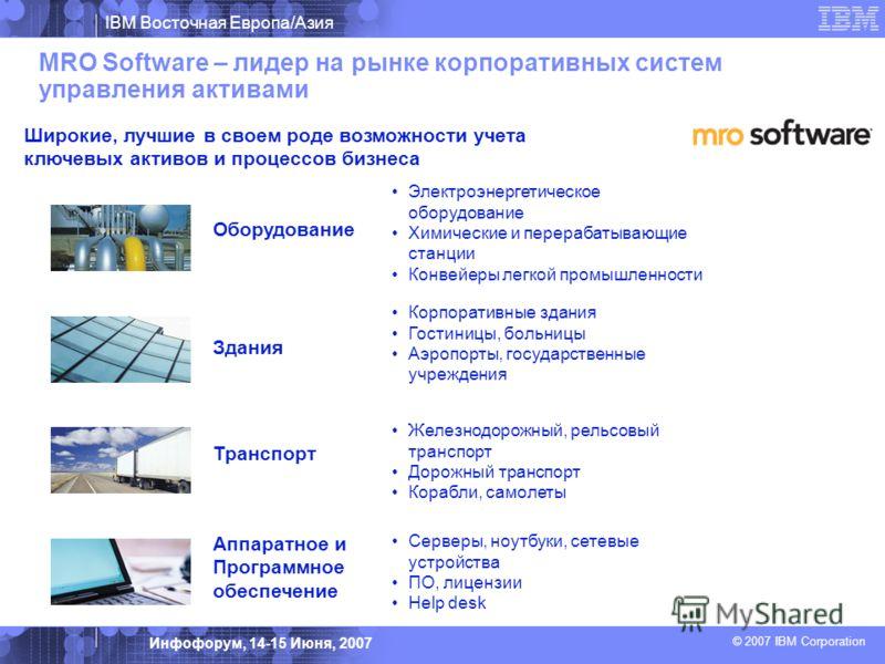 IBM Восточная Европа/Азия © 2007 IBM Corporation Инфофорум, 14-15 Июня, 2007 MRO Software – лидер на рынке корпоративных систем управления активами Широкие, лучшие в своем роде возможности учета ключевых активов и процессов бизнеса Оборудование Транс