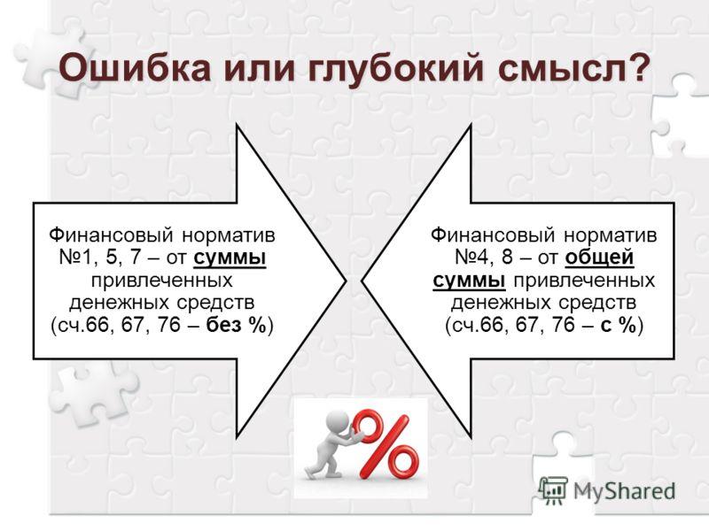 Финансовый норматив 1, 5, 7 – от суммы привлеченных денежных средств (сч.66, 67, 76 – без %) Финансовый норматив 4, 8 – от общей суммы привлеченных денежных средств (сч.66, 67, 76 – с %)