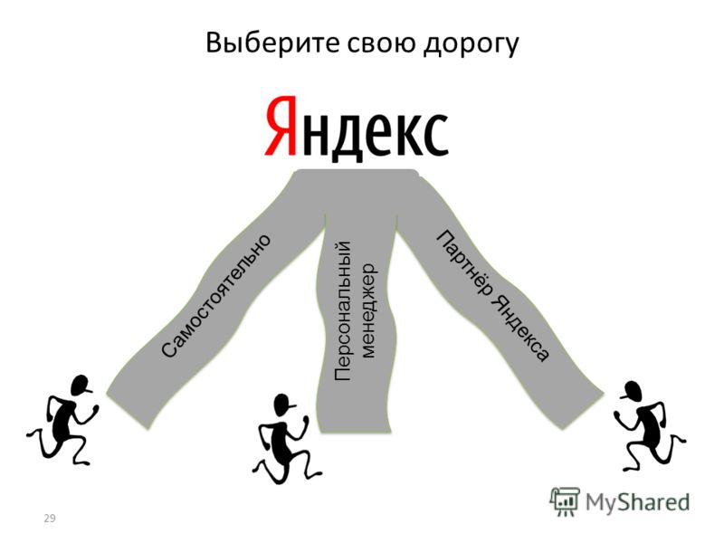 Партнёр Яндекса 29 Выберите свою дорогу Самостоятельно Персональный менеджер