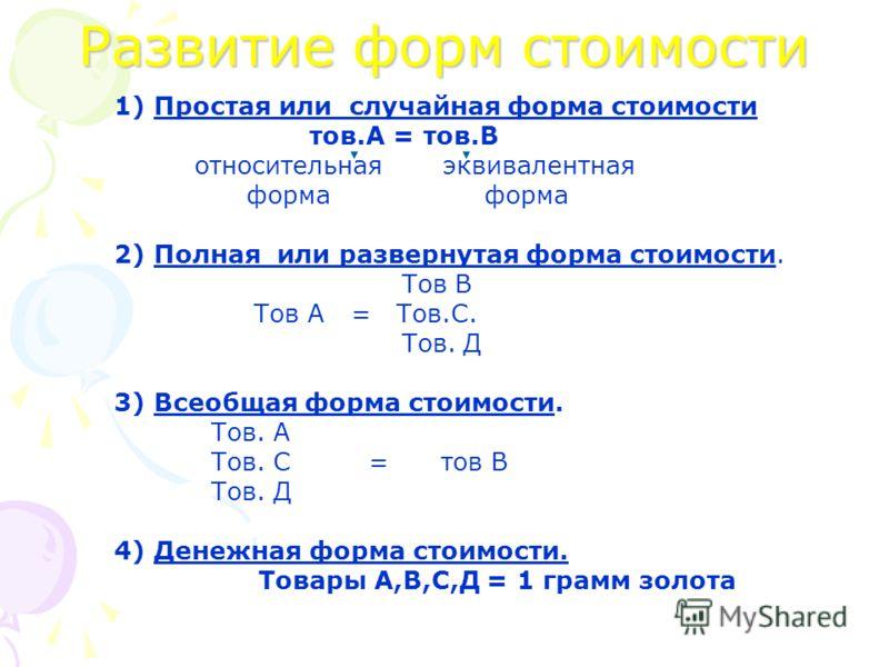 Развитие форм стоимости 1) Простая или случайная форма стоимости тов.А = тов.В относительная эквивалентная форма форма 2) Полная или развернутая форма стоимости. Тов В Тов А = Тов.С. Тов. Д 3) Всеобщая форма стоимости. Тов. А Тов. С = тов В Тов. Д 4)