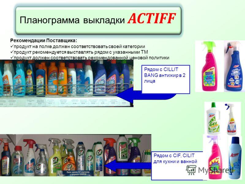 Планограмма выкладки ACTIFF Рекомендации Поставщика: продукт на полке должен соответствовать своей категории продукт рекомендуется выставлять рядом с указанными ТМ продукт должен соответствовать рекомендованной ценовой политики Рядом с CIF, CILIT для