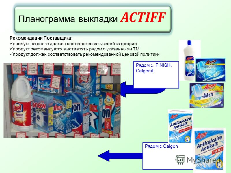 Планограмма выкладки ACTIFF Рекомендации Поставщика: продукт на полке должен соответствовать своей категории продукт рекомендуется выставлять рядом с указанными ТМ продукт должен соответствовать рекомендованной ценовой политики Рядом с Calgon Рядом с