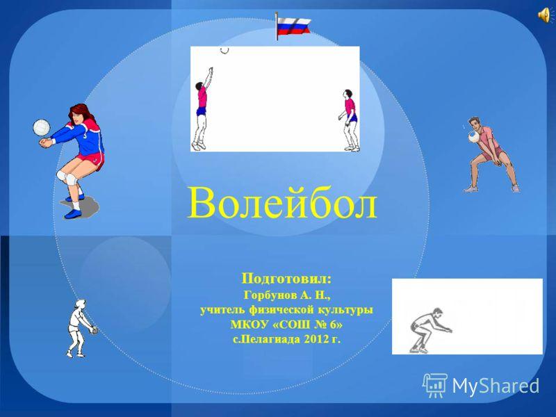 Волейбол Подготовил: Горбунов А. Н., учитель физической культуры МКОУ «СОШ 6» с.Пелагиада 2012 г.
