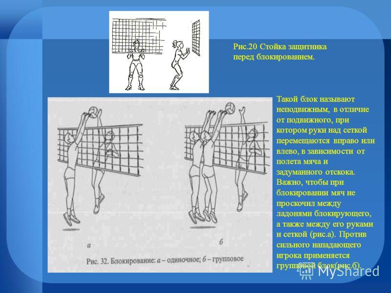 Рис.20 Стойка защитника перед блокированием. Такой блок называют неподвижным, в отличие от подвижного, при котором руки над сеткой перемещаются вправо или влево, в зависимости от полета мяча и задуманного отскока. Важно, чтобы при блокировании мяч не